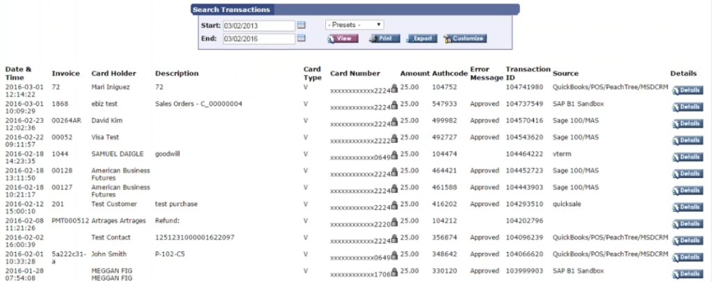 Alternative to Authorize.net for Acumatica Advanced search function.