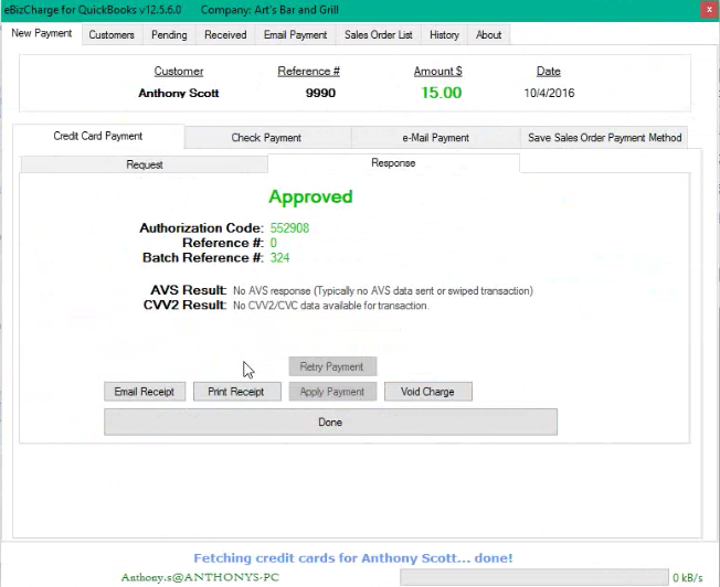 Alternative to QuickBooks Payments for QuickBooks Desktop Enterprise in action.