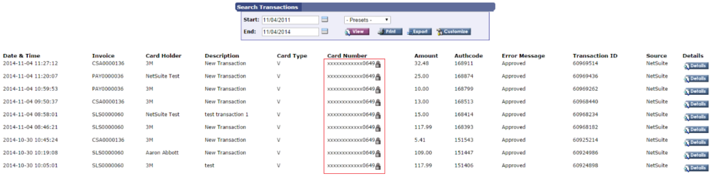Credit card processing in Acumatica payment gateway