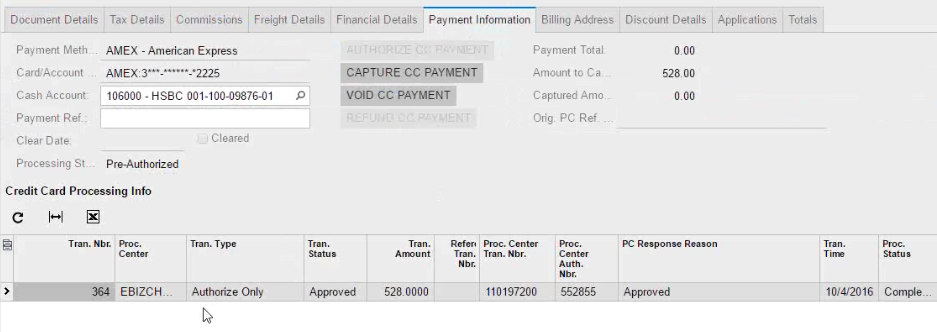 Credit card processing in Acumatica Advanced in action
