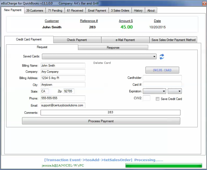 Integrated credit card processing in QuickBooks in action